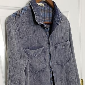 Oddy button down distressed chambray top size S